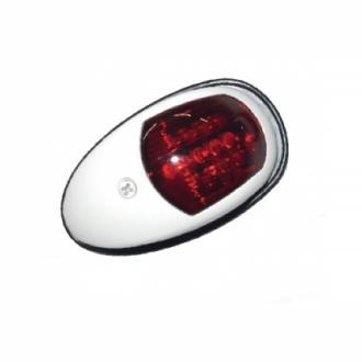 Φανός πλευρικός με πλαστικό άσπρο κέλυφος, κόκκινο φως